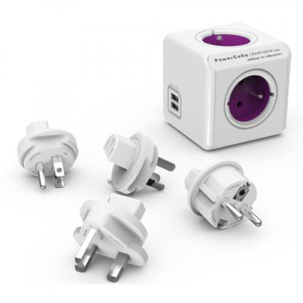 Allocacoc PowerCube ReWirable USB + 4x plugs Purple